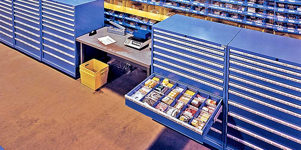 Photo of stock trays full of electrical items